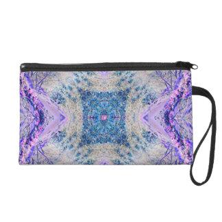 Modern patterned lilac blue fantasy bag wristlet clutches