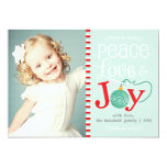 Modern Peace Love & Joy Christmas Photo Personalised Announcement
