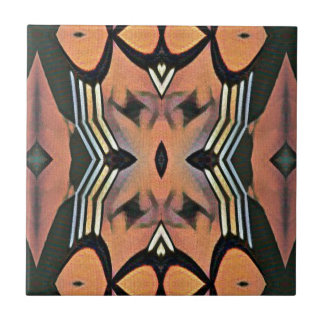 Modern Peach Black Artistic Abstract Background Tile