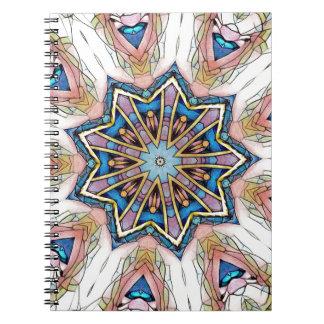 Modern Peach Blue Mandala Pattern Notebook