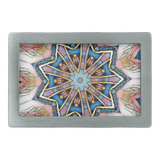 Modern Peach Blue Mandala Pattern Rectangular Belt Buckle