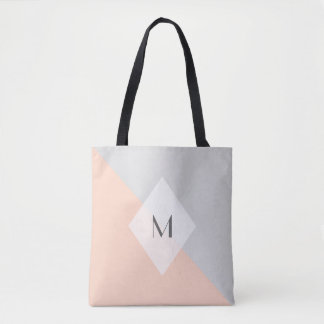 Modern Peach Gray Monogram Tote Bag