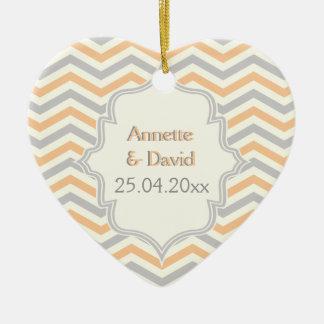Modern peach, grey, ivory chevron pattern custom ceramic heart decoration