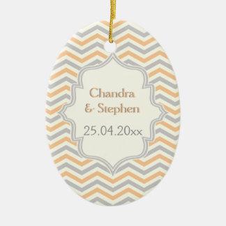 Modern peach, grey, ivory chevron pattern custom ceramic oval decoration