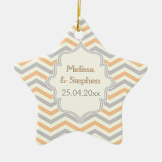 Modern peach, grey, ivory chevron pattern custom ceramic star decoration