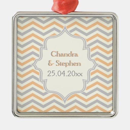 Modern peach, grey, ivory chevron pattern custom ornaments
