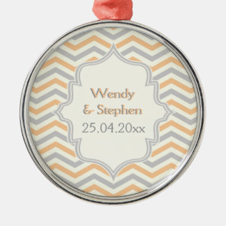 Modern peach, grey, ivory chevron pattern custom Silver-Colored round decoration