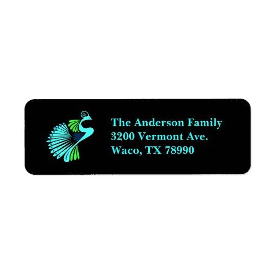 Modern Peacock Black Custom Address Label
