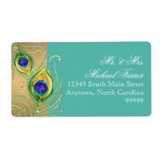 Modern Peacock Feather Faux Jewel Scroll Turquoise Shipping Label