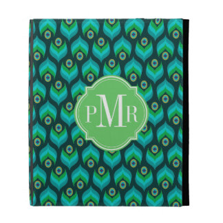 Modern Peacock Feather Pattern iPad Cases