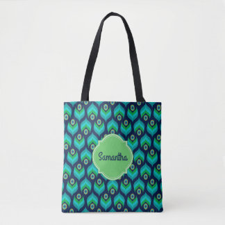 Modern Peacock Feather Pattern Name Tote Bag