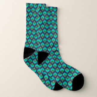 Modern Peacock Feather Pattern Socks