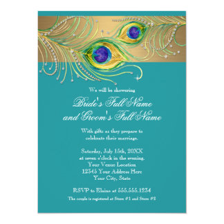 Modern Peacock Feathers Faux Jewel Bridal Shower Card