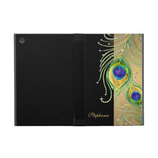 Modern Peacock Feathers Faux Jewel Scroll Swirl Cases For iPad Mini