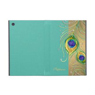 Modern Peacock Feathers Faux Jewel Scroll Swirl Cover For iPad Mini