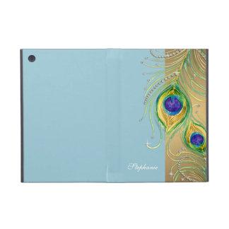 Modern Peacock Feathers Faux Jewel Scroll Swirl iPad Mini Covers