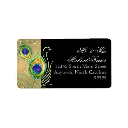 Modern Peacock Feathers Faux Jewel Scroll Swirl Label