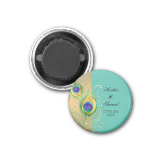 Modern Peacock Feathers Faux Jewel Scroll Swirl 3 Cm Round Magnet