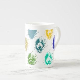 Modern Peacock feathers print art Tea Cup