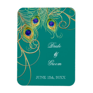 Modern Peacock Feathers Swirl Save the Date Rectangular Photo Magnet