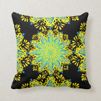Modern Peacock Flower Yellow Blue Mandala Pillow