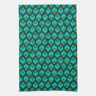 Modern Peacock Pattern Tea Towel