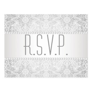 modern pearl white lace vintage wedding rsvp postcard