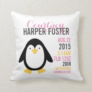 Modern Penguin Birth Announcement Nursery Pillow
