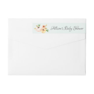 Modern Peonies Floral Baby Shower label