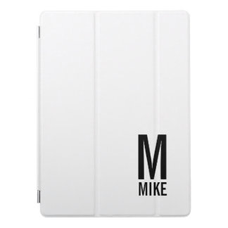 Modern Personalized Bold Monogram and Name iPad Pro Cover