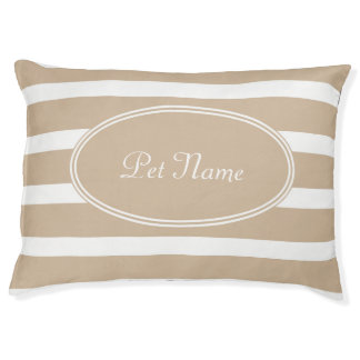 Modern personalized dog bed Beige brown striped
