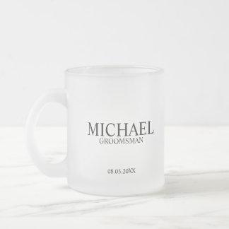 Modern Personalized Groomsman Frosted Glass Coffee Mug