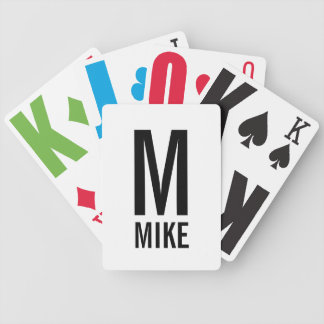 Modern Personalized Monogram and Name Bicycle Playing Cards