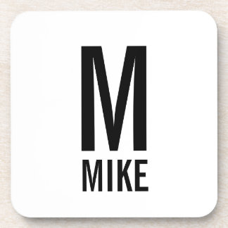 Modern Personalized Monogram and Name Coaster