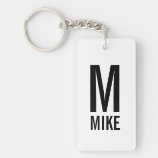 Modern Personalized Monogram and Name Key Ring