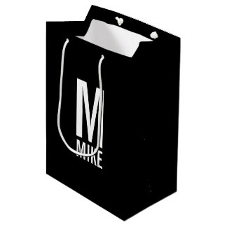 Modern Personalized Monogram and Name Medium Gift Bag