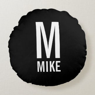 Modern Personalized Monogram and Name Round Cushion
