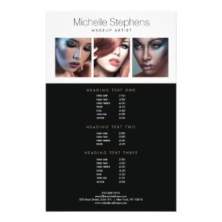 Modern Photo Flyer Price List for Makeup Artists
