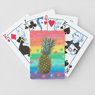 Modern Pineapple Watercolor Stripes and Spots Bicycle Playing Cards