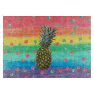 Modern Pineapple Watercolor Stripes and Spots Cutting Board