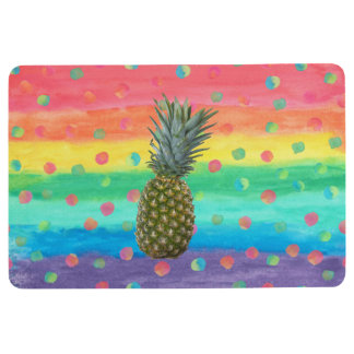 Modern Pineapple Watercolor Stripes and Spots Floor Mat