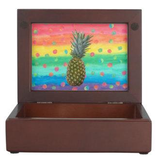 Modern Pineapple Watercolor Stripes and Spots Keepsake Box