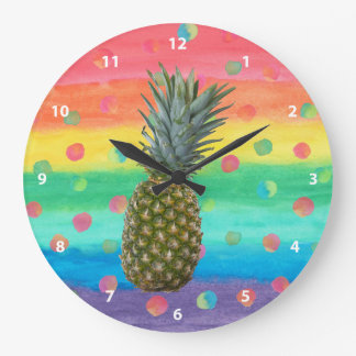 Modern Pineapple Watercolor Stripes and Spots Large Clock