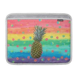 Modern Pineapple Watercolor Stripes and Spots MacBook Sleeves