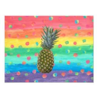Modern Pineapple Watercolor Stripes and Spots Photo Print