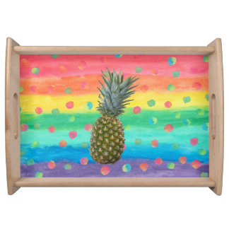 Modern Pineapple Watercolor Stripes and Spots Serving Tray