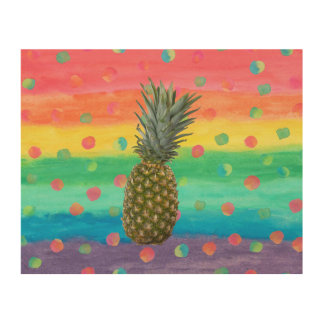 Modern Pineapple Watercolor Stripes and Spots Wood Prints