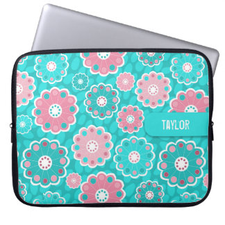 Modern pink and aqua floral laptop sleeve