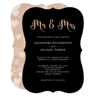 Modern Pink and Black Bokeh Wedding | Mr & Mrs Card