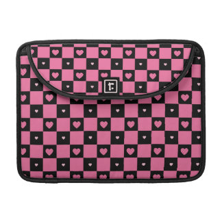 Modern Pink and Black Checker Pattern Girly Hearts Sleeve For MacBook Pro
